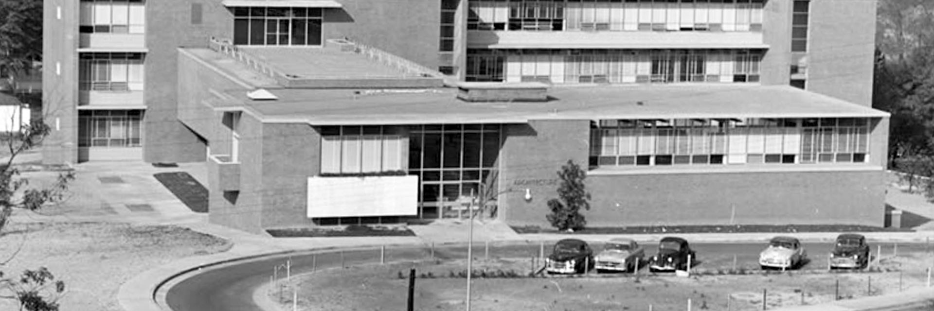 A black and white photo of the East Architecture Building from 1952.
