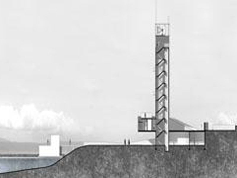 A grayscale architectural drawing of tall hotel.
