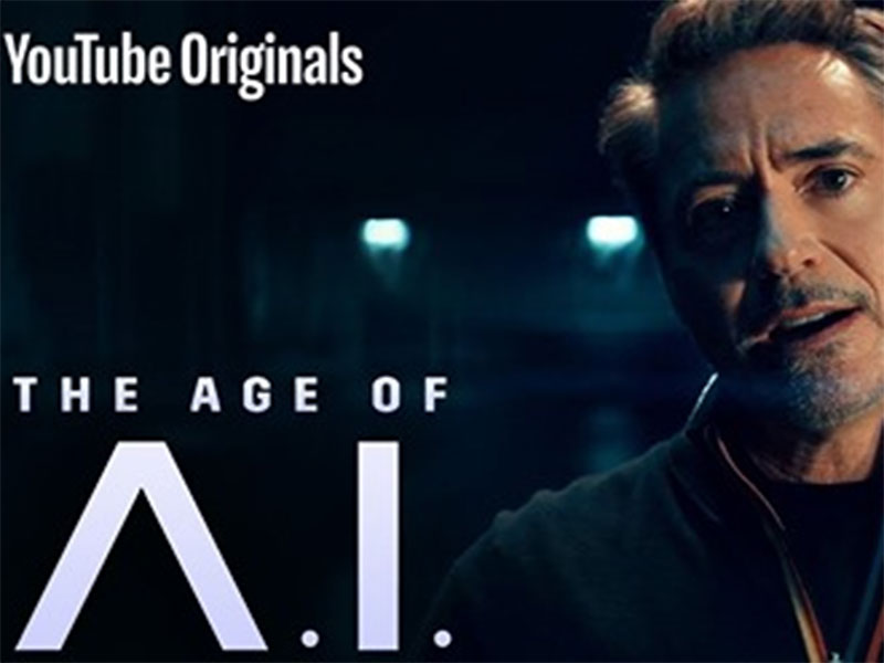 "A video still from YouTube with Robert Downey, Jr. on the right, and the text ""The Age of A.I."" on the left, branded YouTube Originals."