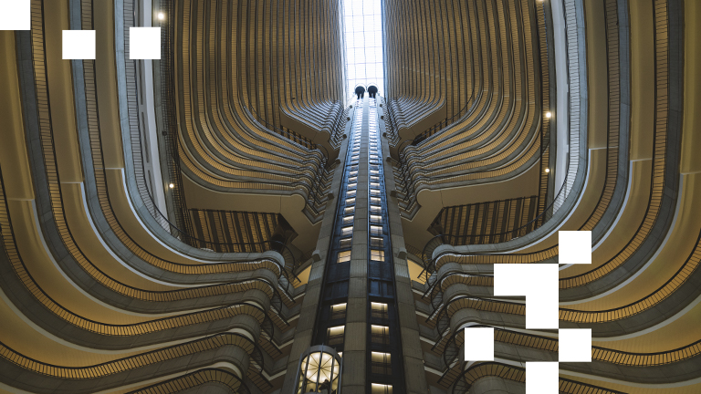 A view looking up at the Atlanta Marriott Marquis atrium.